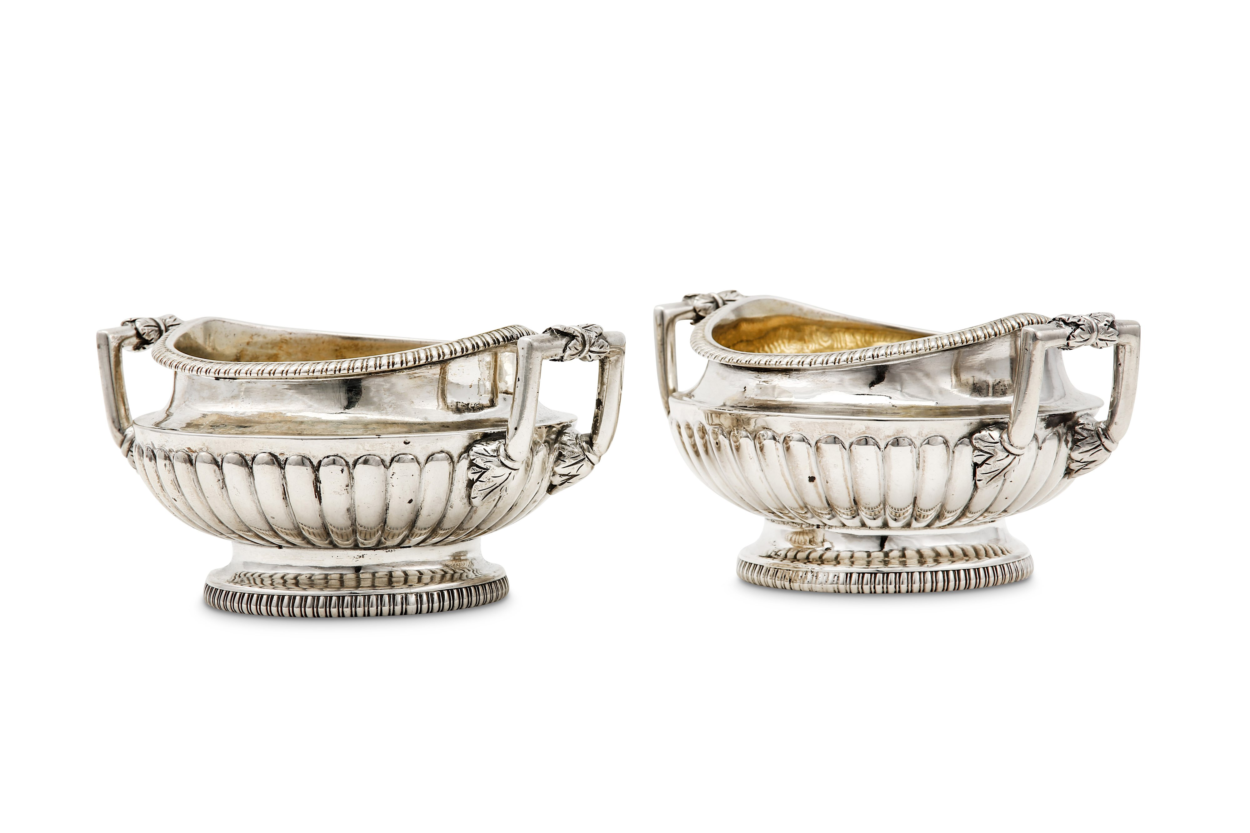 Lot 34 - A pair of George III sterling silver twin handled salts, London 1806 by Daniel Pontifex (reg. Sep 17