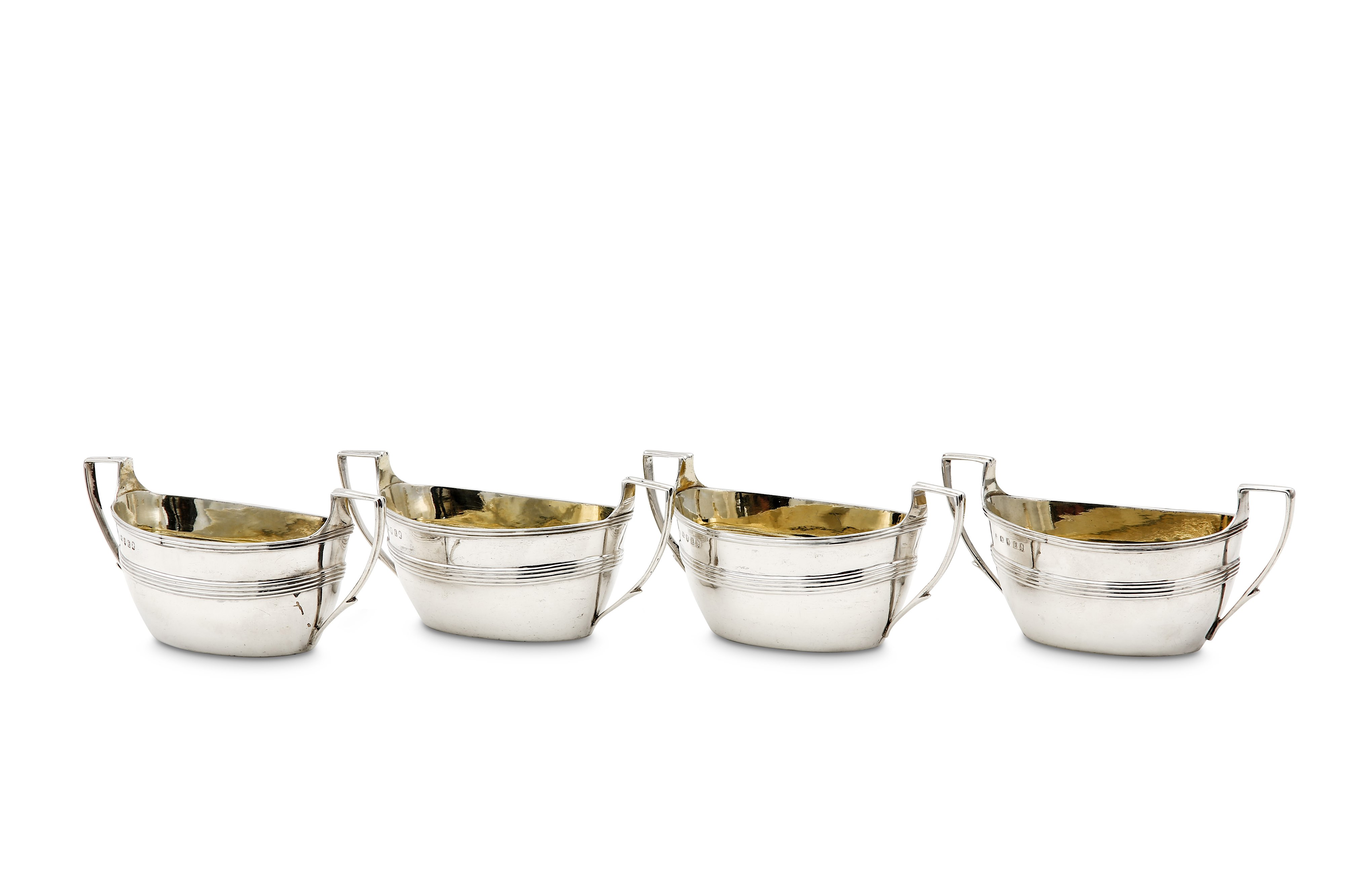 Lot 35 - A set of four George III sterling silver twin handled salts, London 1800 by Duncan Urquhart & Naphta