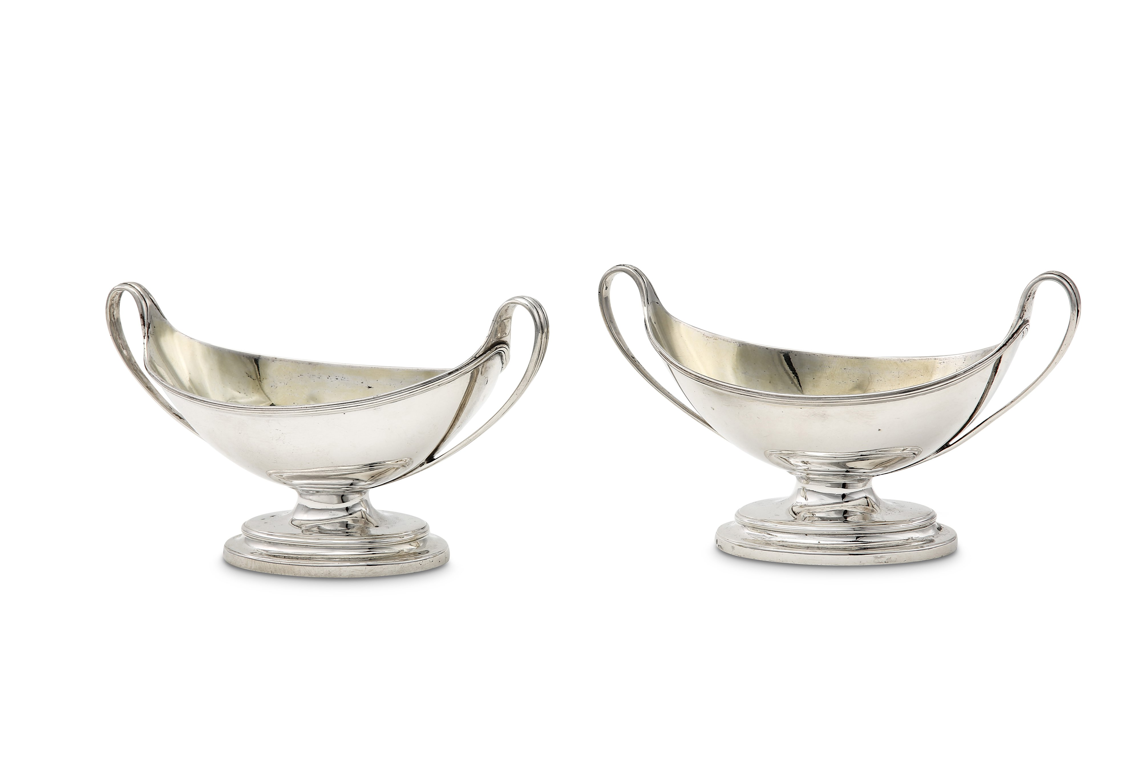Lot 10 - A pair of George III sterling silver twin handled salts, London 1785 by John Wakelin & William Taylo