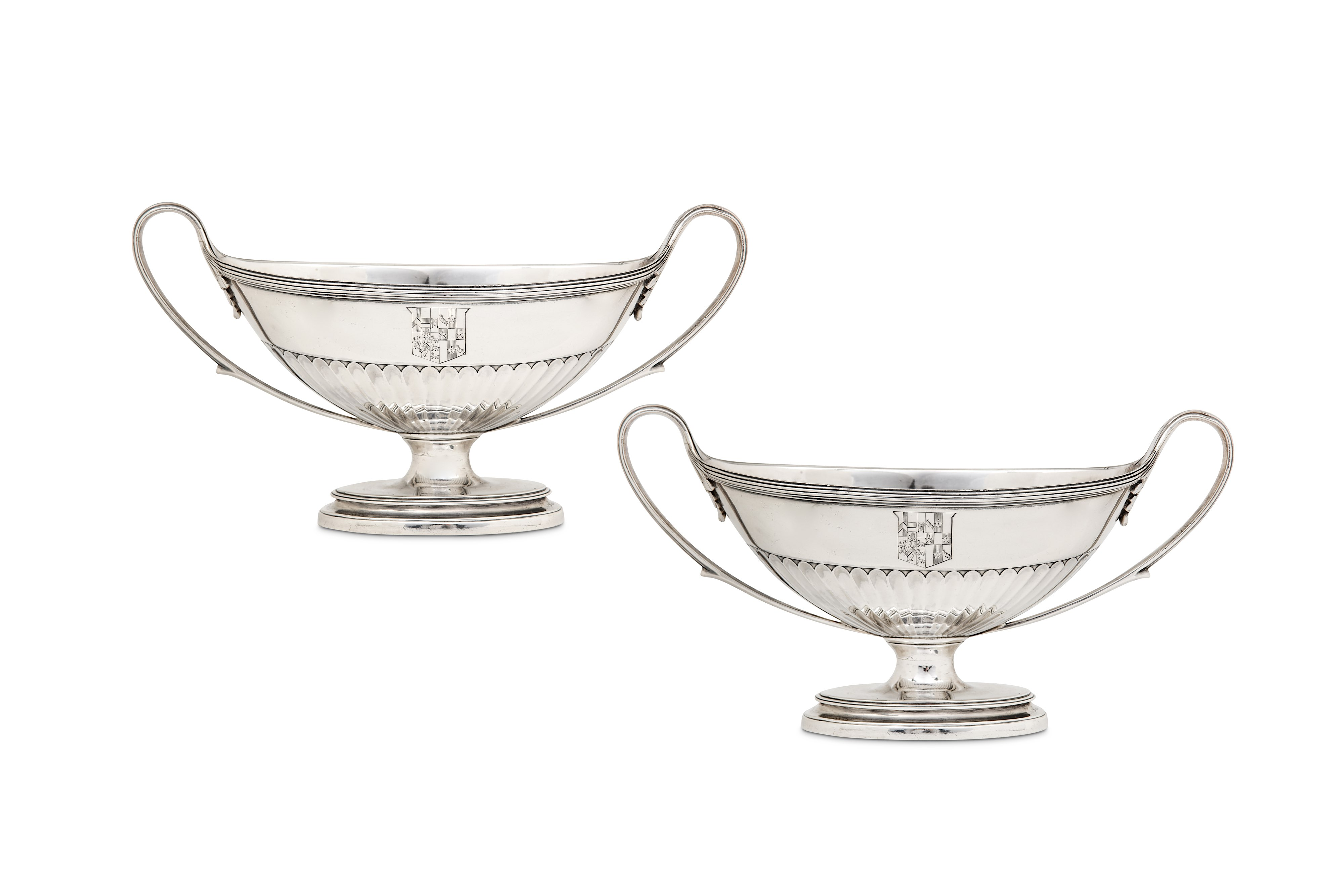 Lot 31 - A pair of George III sterling silver twin handled sauce tureen bases, London 1794 by John Scofield (