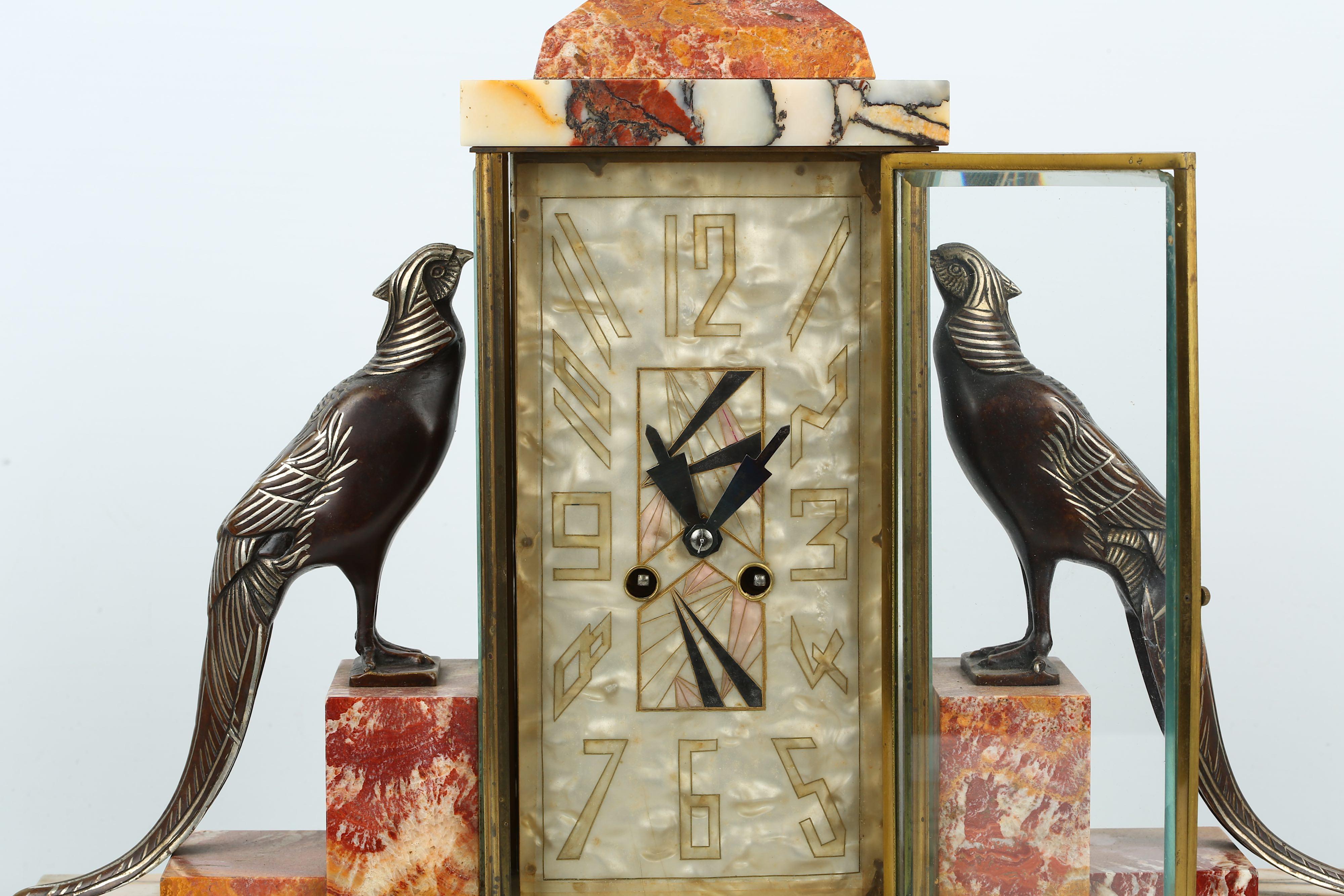 Lot 206 - IRENEÉ ROCHARD (FRENCH, 1906-1984): AN ART DECO PERIOD MARBLE, BRONZE AND SILVERED MANTEL CLOCK GARN