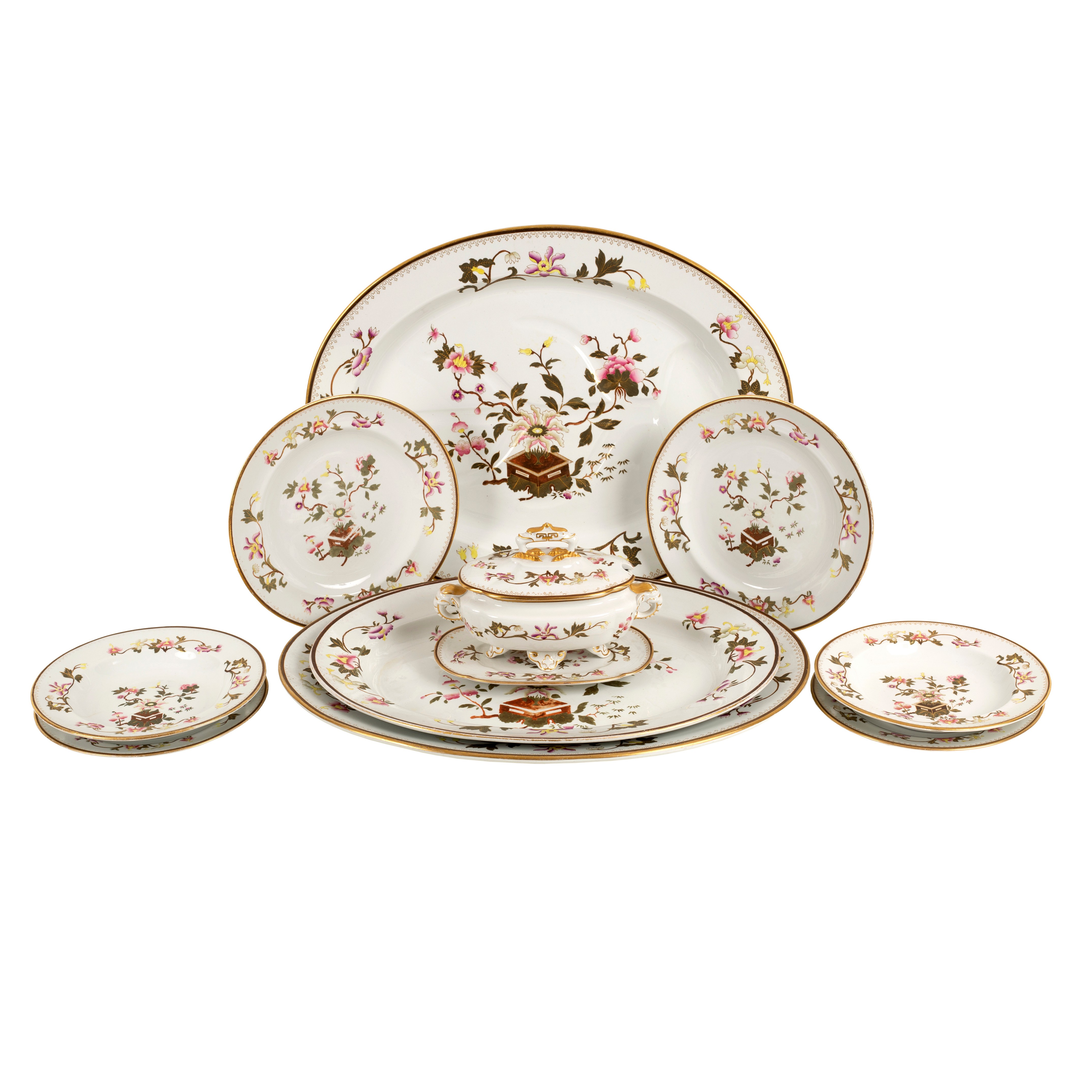 Lot 202 - A Royal Worcester part dinner service, decorated chinoiserie flowers and gilt,
