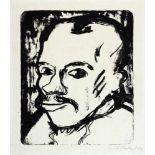 Erich Heckel. Männerkopf. Lithographie. 1909. 31,8 : 27,1 cm. Signiert und mit »08« datiert, unten