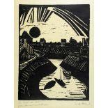 Erich Heckel. Krummer Kanal. Holzschnitt. 1915. 36,7 : 27,2 cm (59 : 47 cm). Signiert und mit »In
