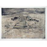Johnny Friedlaender. Paysage boise. Farbradierung. 1951/1955. 34,0 : 48,2 cm (50 : 65 cm).