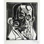 Max Pechstein. Selbstbildnis mit Pfeife. Holzschnitt. 1921. 34,1 : 28,0 cm (70,2 : 55,8 cm).