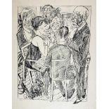 Max Beckmann. Die Enttäuschten I. Lithographie. 1922. 49 : 37,6 cm (68 : 53,5 cm). Signiert und