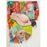 George Grosz. Ecce homo. Berlin, Malik 1923. 16 Farboffsetdrucke nach Aquarellen. Zusammen mit