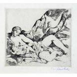Willy Jaeckel. Stillende Mutter. Kaltnadelradierung. Um 1913/14. 13,8 : 15,8 cm (29,0 : 39,5 cm).