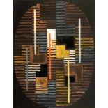 Adolf Richard Fleischmann. Komposition Oval. Gouache auf schwarzem Papier. 1959. 62,5 : 47,5 cm.
