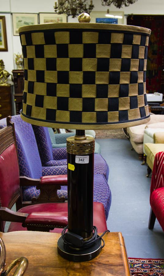 Lot 342 - TABLE LAMP + SILK SHADE