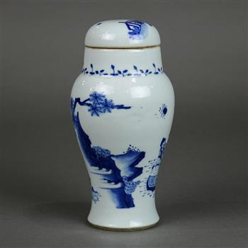Lot 5008 - Chinese underglazed blue porcelain lidded jar, with a wide short neck above high shoulders and