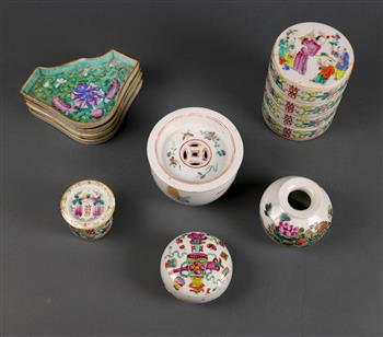 Lot 5015 - (lot of 9) Chinese porcelain items, consisting of: a lidded cricket jar with butterflies; a circular