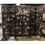 Lot 8594 - Chinese six panel overlaid lacquer wood screen, one side featuring figures in landscape decorated
