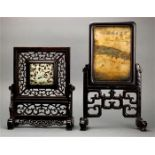 Lot 5043 - (lot of 2) Chinese table screens: the first set with a reticulated hardstone plaque pierced with a