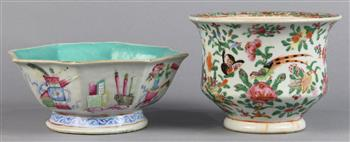 Lot 5012 - (lot of 2) Chinese porcelain vessels: the first, an export vessel featuring birds amid flowers;