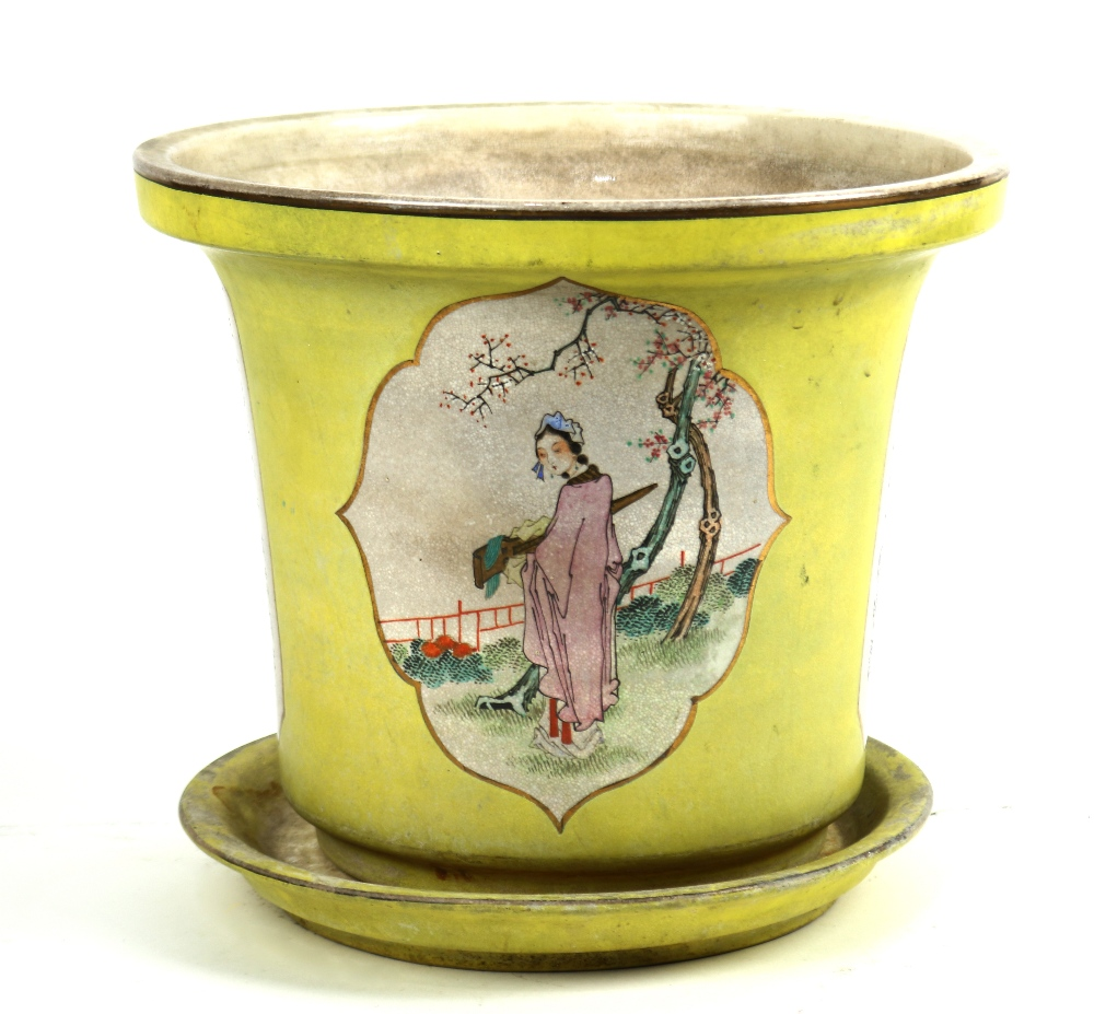 Lot 5107 - Chinese porcelain yellow ground planter, featuring two reserves with a beauty holding a qin,