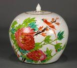 Lot 5017 - Chinese enameled porcelain lidded jar, of globular form decorated with bird amid peonies, back
