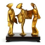 """Lot 5060 - Japanese okimono, Awaodori figures in various poses, gilt on iron with wood stand, largest: 9.75""""h"""