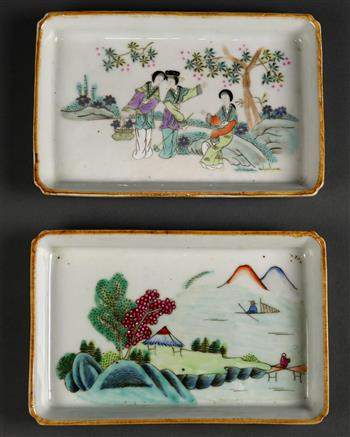 Lot 5011 - (lot of 2) Chinese porcelain trays, of rectangular form, one featuring three beauties in a garden