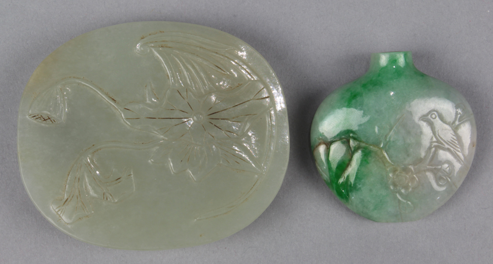 Lot 8523A - Chinese Jade Belt Plaque and Jadeite Snuff Bottle