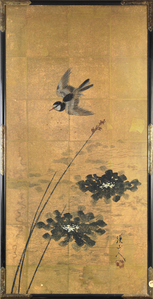 Lot 5158 - Japanese ink and colors on panel by Tomita Keisen (1879-1936), depicting a bird flying above