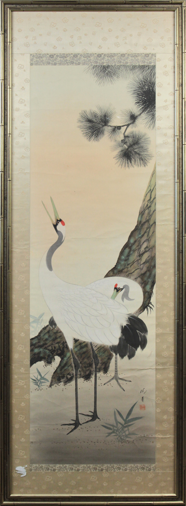 Lot 5156A - Japanese framed scroll, ink and colors on silk, depicting two cranes by a pine tree, lower right