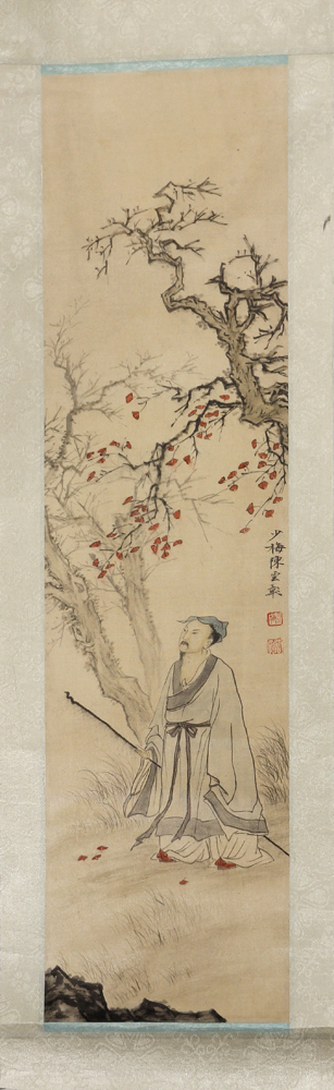 Lot 5081B - Manner of Chen Shaomei (Chinese, 1909-1954), Scholar Under Autumn Leaves, ink and color on silk, the