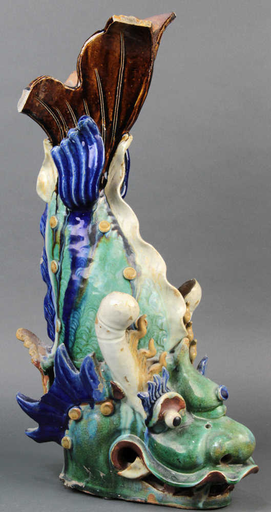 "Lot 5128A - Chinese ceramic fish form roof ornament, with a green glazed body accented by blue fins, 22""h"