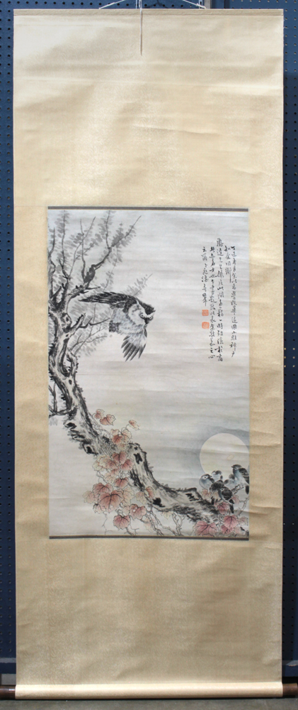 Lot 5173A - Manner of Gao Qifeng (Chinese,1889-1933), Owls, ink and color on paper, the upper right with