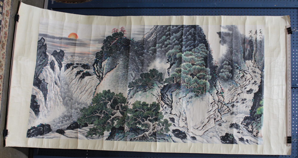 Lot 5162 - Manner of Guan Shanyue (Chinese, 1912-2000), Landscape, ink and color on paper, the upper right