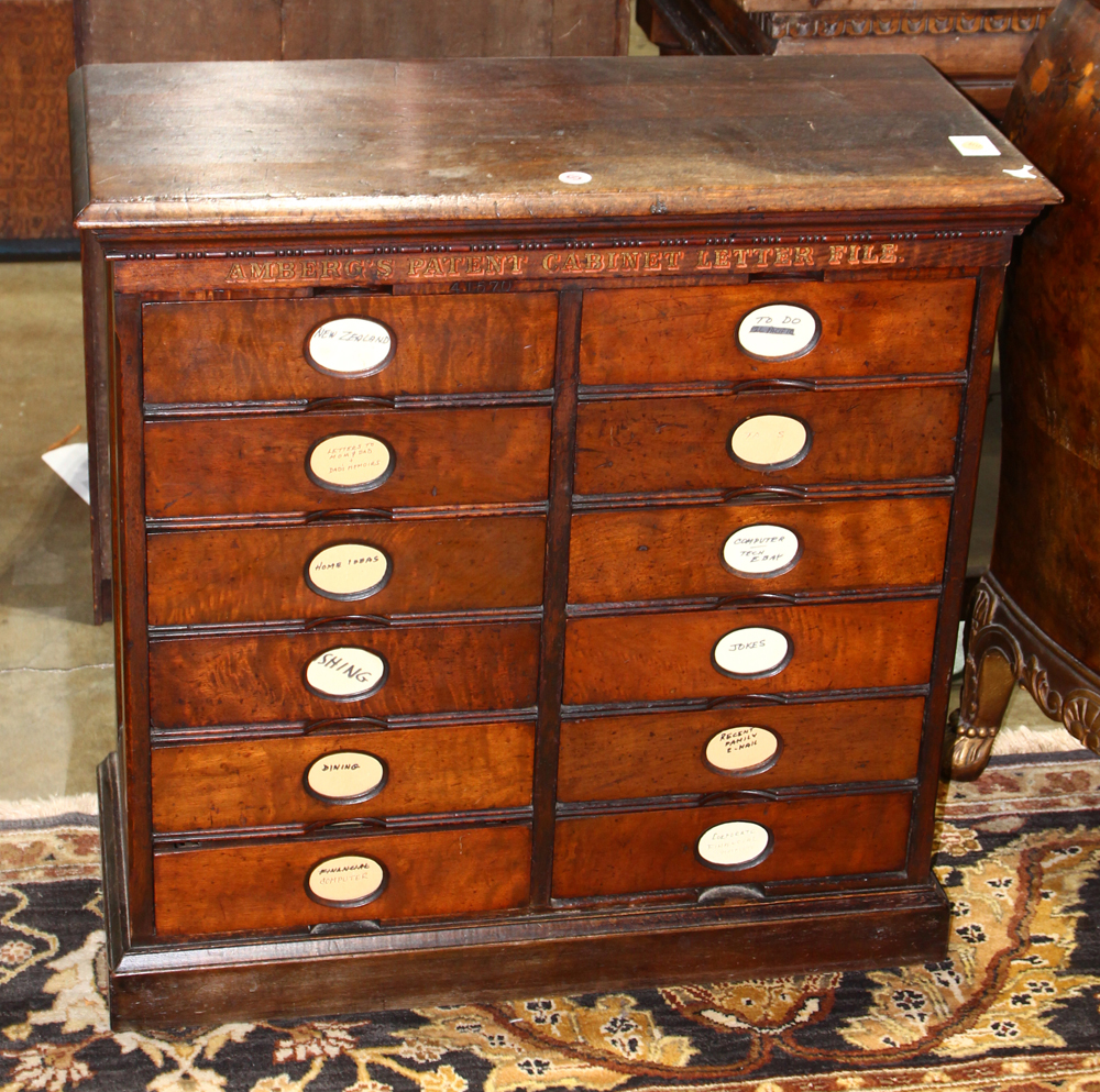 Lot 5717 - Early Amberg's Patent Cabinet Letter File, the twelve drawer case retains the original finish, and