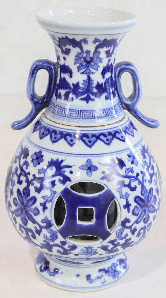 Lot 4002 - Chinese Blue-White Vase Pierced