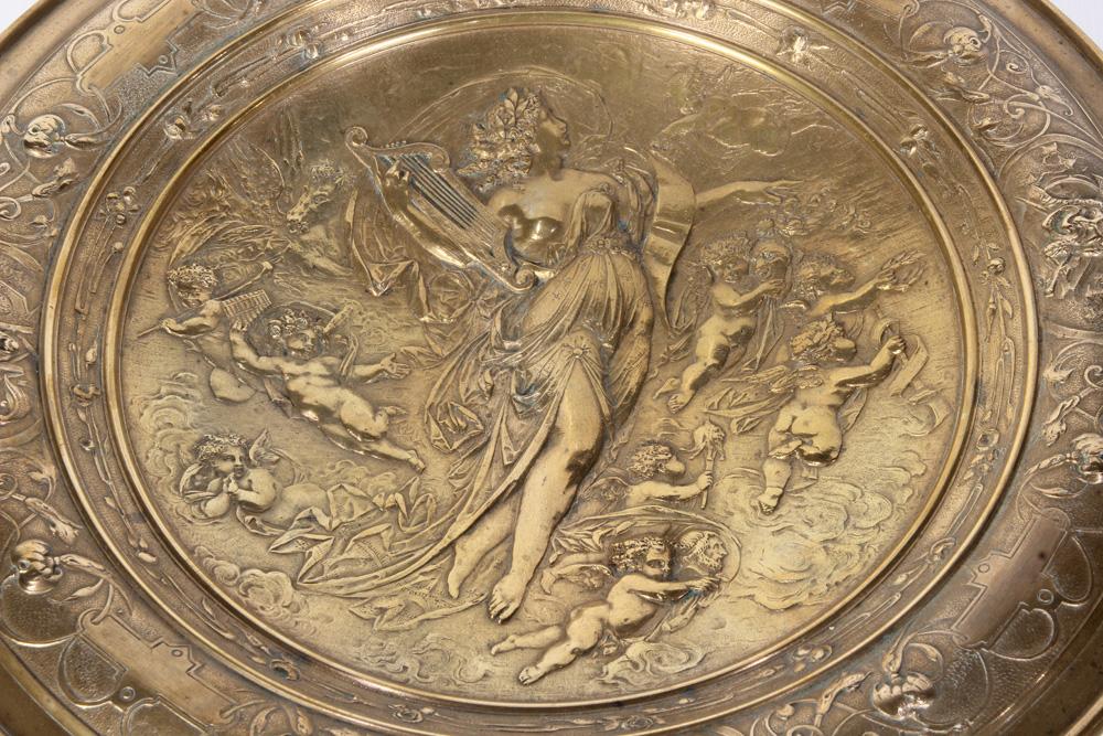 Lot 4611 - Art Nouveau bronze tazza compote depicting maiden and cherubs in the Rococo Taste