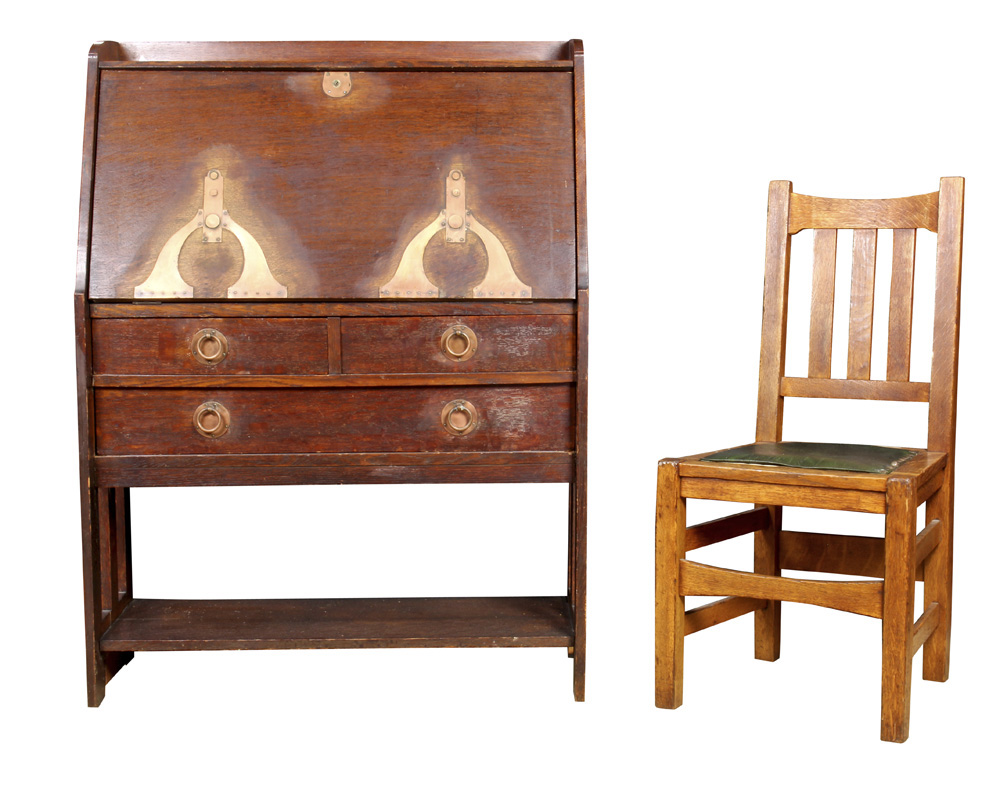 Lot 6605 - Arts and Crafts Stickley Brothers fall front desk and chair