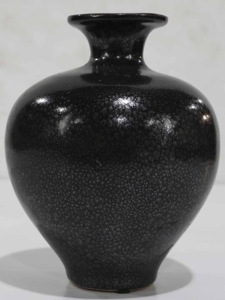 """Lot 8057 - Chinese Black Glazed """" Oil Spot"""" Meiping Vase"""