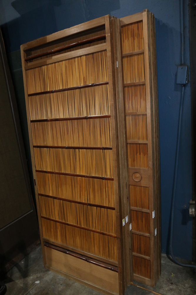 Lot 4060 - Japanese Outdoor Sliding Doors, of Wood, Rattan and Bamboo