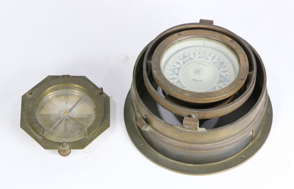 Lot 4619 - (lot of 2) Ship's compasses, the larger by Ritchie & Sons