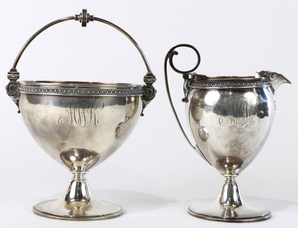 Lot 4586 - (lot of 2) Matching American .925 Sterling footed creamer and sugar set
