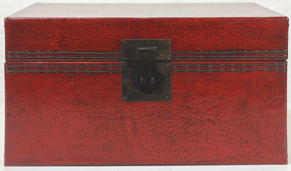 Lot 4079 - Chinese Pigskin Red Trunk