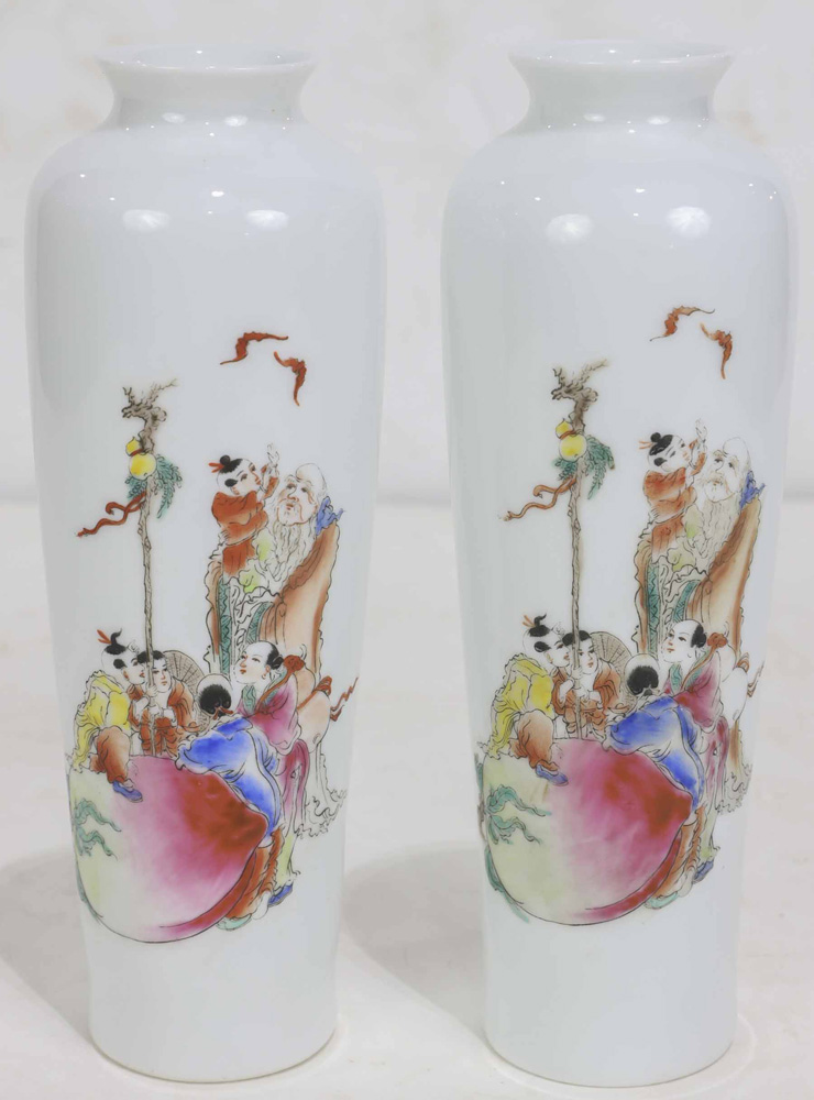 Lot 8044 - (Lot of 2) Pair of Chinese Enameled Porcelain Vases