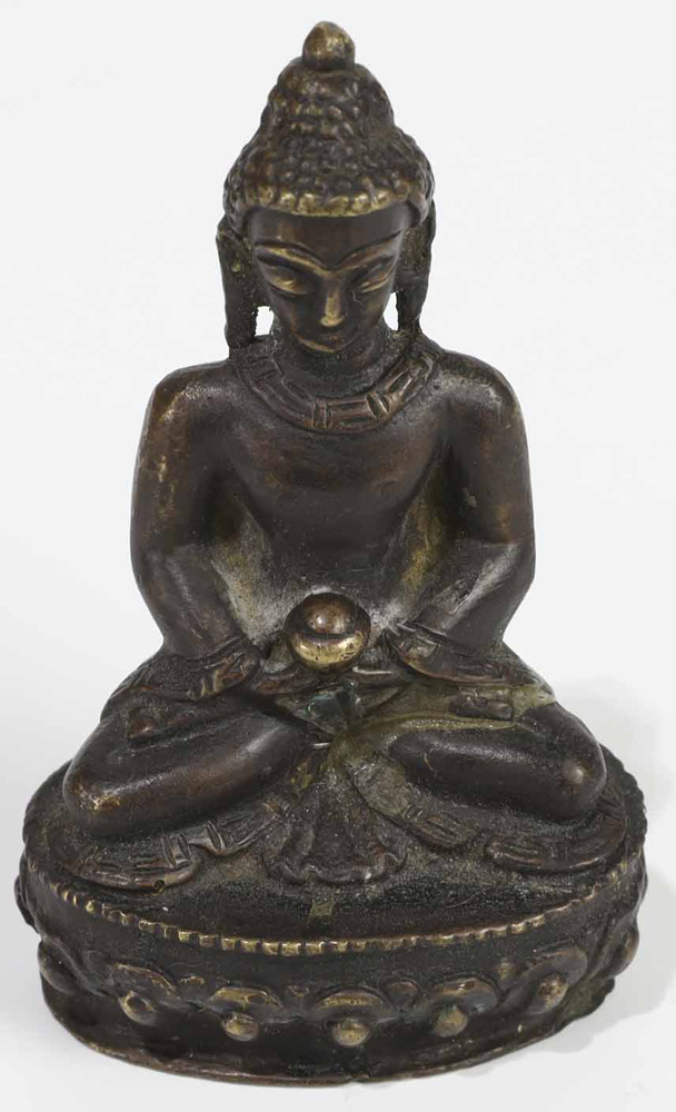 "Lot 4035 - Chinese Bronze Figure of Buddha, 2""W x 3.5""H"