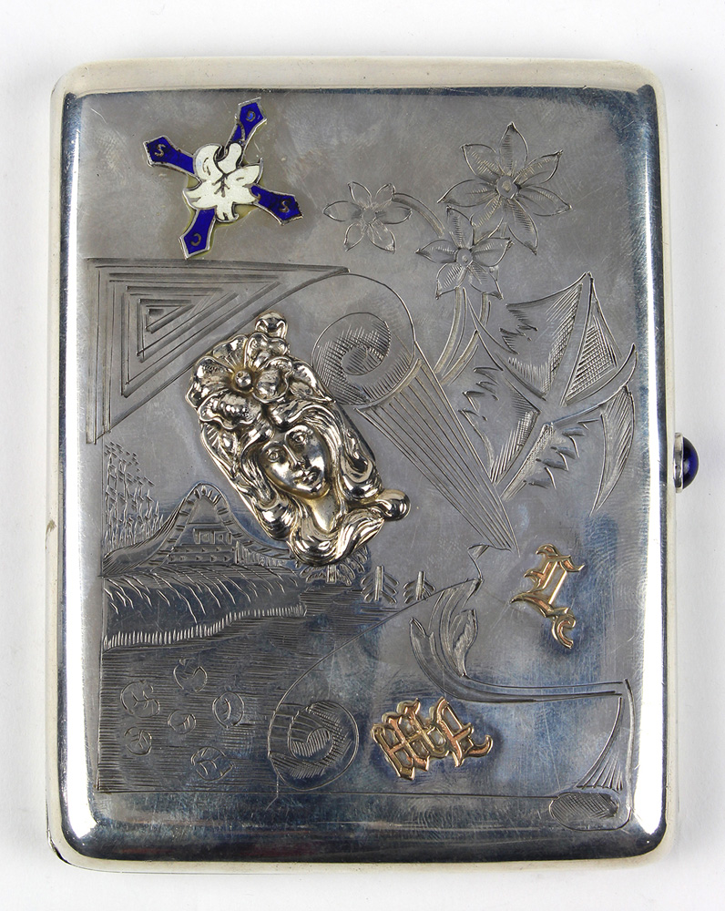Lot 6700 - Russian enamel and gold applique .84 silver cigarette case, Moscow, 1908-1917