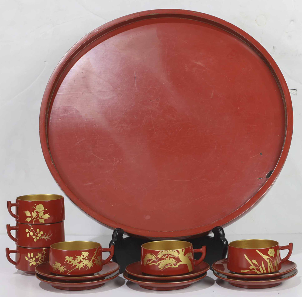 Lot 4049 - Japanese Vermilion Lacquer Tray, Six Cups and Saucers