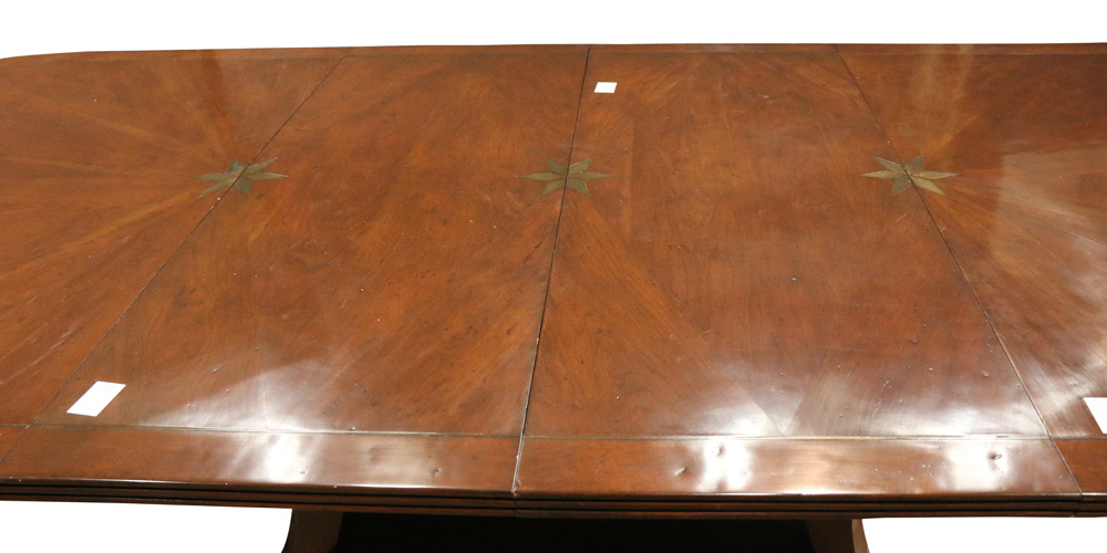 Lot 6325 - Custom Regency style brass inlaid banquet table
