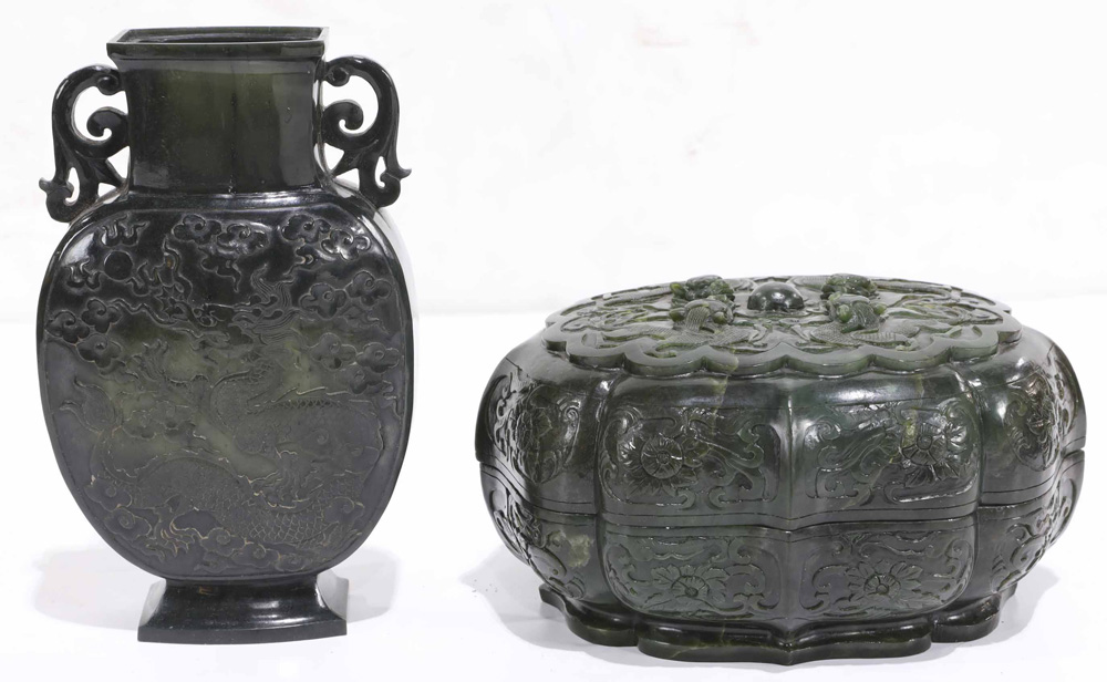Lot 8032 - (Lot of 2) Chinese Two Carved Spinach Jade Carvings