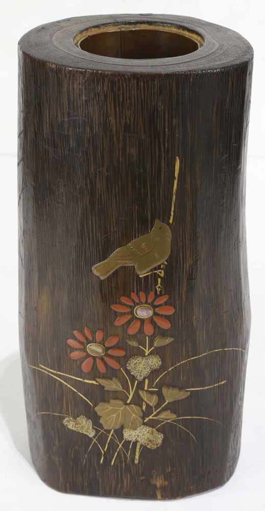 Lot 8012 - Japanese wood vase, lacquered
