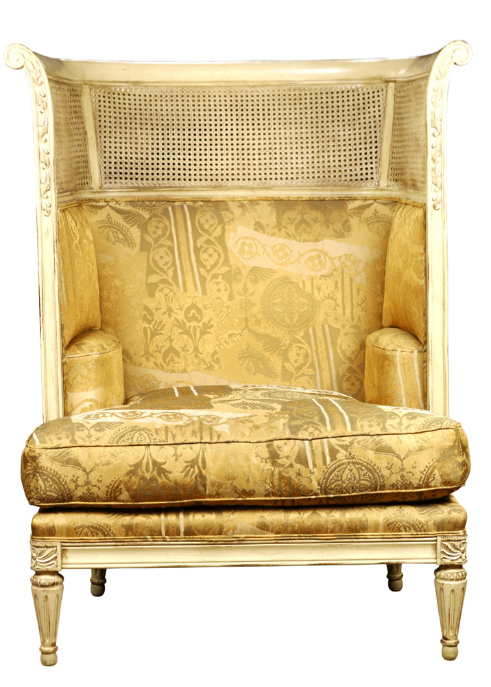 Lot 6092 - Hollywood Regency style wing back chair