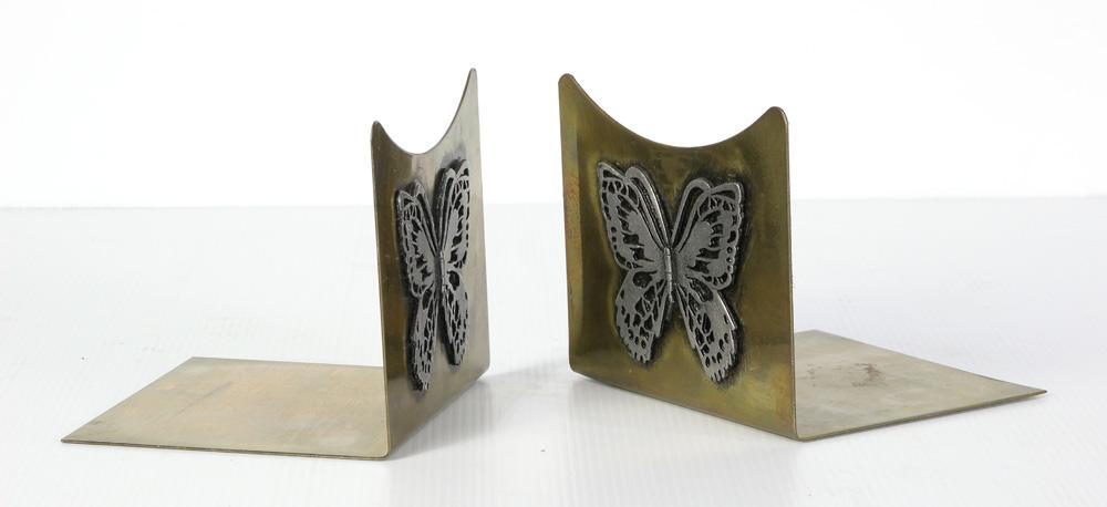 Lot 4605 - Pair Art Deco brass bookends with silver applique butterflies