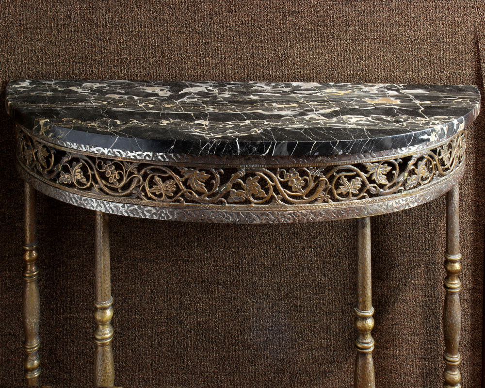 Lot 6689 - Art Deco marble top demi lune hall table
